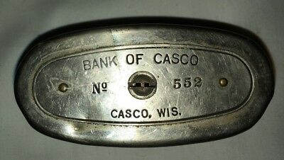 Bank of Casco, Casco, Wis. Oval Metal Bank, Just about 100 years old