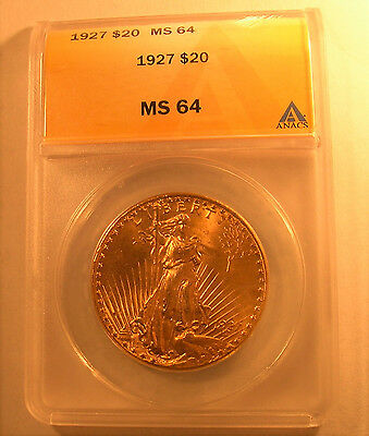 1927 20 ANACS MS64 Gold St Gaudens Double Eagle Uncirculated Saint Twenty Dollar