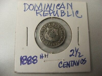 DOMINICAN REPUBLIC 1888 HH 21/2 CENTAVOS Large Book with thick Cross large date.