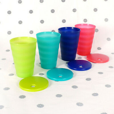 NEW Tupperware Expressions Tumblers set of 4 500ml  Dripless Straw Seals