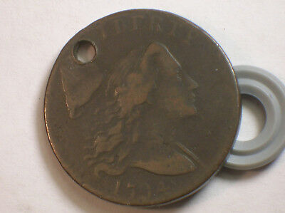 1794 Large Cent Flowing Hair Dark Brown S -41 R-3 Holed