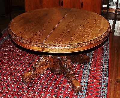 Beautiful French Antique Oak Renaissance Round Small Short Pedestal Base Table