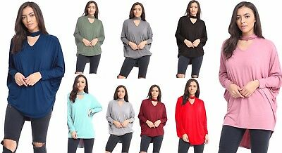 New Women's Ladies Choker V Neck Oversized Baggy Batwing Top T Shirt Plus Size