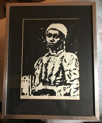 """1973 African American woman framed lithograph 4/30 b&w Kelley """"Wednesday""""Oakland"""