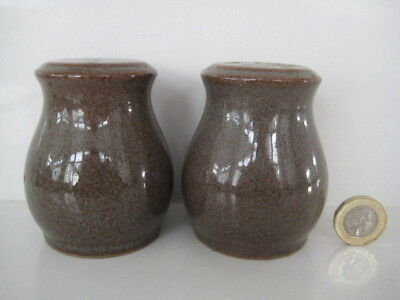 Denby Pottery Greystone Cruet Salt & Pepper Shakers Pair With Original Stoppers