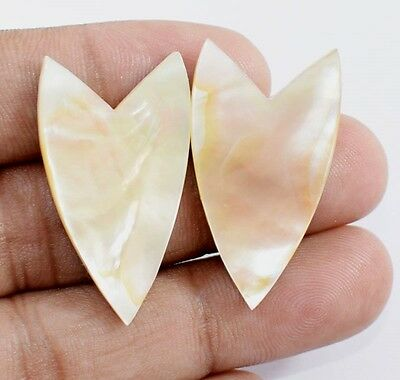25.55 CT. Natural White Mother of Pearl Fancy 1 Pair 34X19 Loose Gemstone