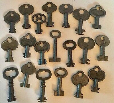 Lot 20 Antique Double Bit Barrel Opening Padlock Keys Old Variety