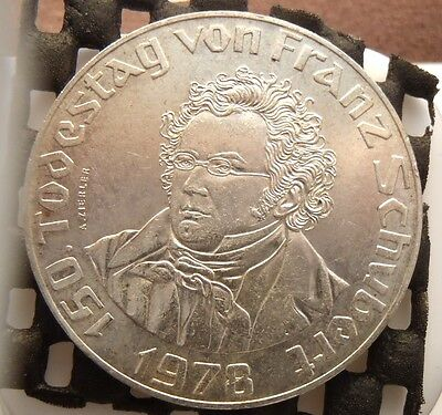 1978 Austria Silver 50 Schilling 150th Annv. Death of Franz Schubert KM# 2937