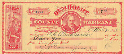 Warrant Humboldt County, Winnemucca, Nevada  1912