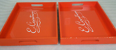 Set of 2 Cointreau Liquor Tray Serving Food Outdoor Orange TV Trays West Elm