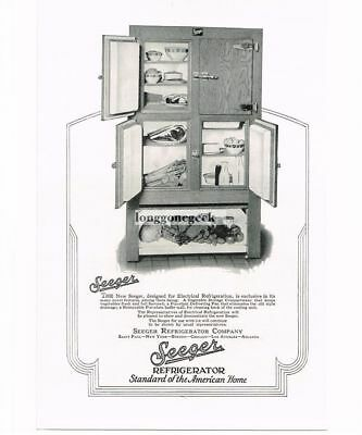 1926 Seeger Refrigerator Co. New Electrical Wood Wooden Fridge Vtg Print Ad