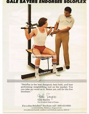 1982 Soloflex Exercise Equipment Gale Sayers Chicago Bears Vtg Print Ad