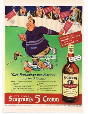 1942 Seagram's 5 CROWN Whiskey Football Player RUSSELL PATTERSON Vtg Print Ad