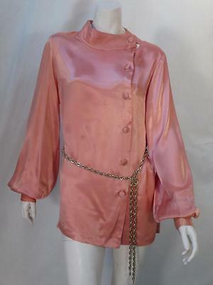 Vintage Christian Dior Dusty Rose Pink Mandarin Pirate Blouse Top *
