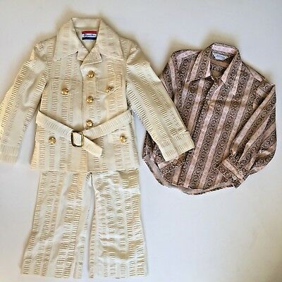 Vintage 1960/70s Boys Elegant Heir Suit and Shirt Size 4T Ivory Belted Leisure