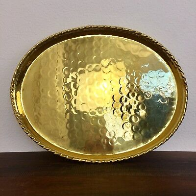 Large Hammered Brass Tray Hollywood Regency Vanity Coffee Table Bar Ware 17.5""