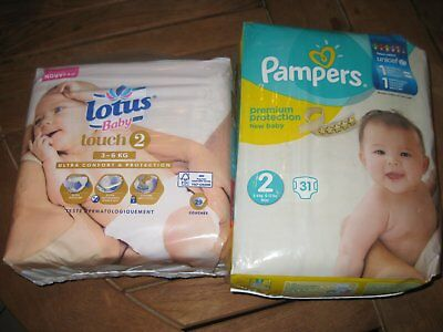 60 couches Taille 2 (PAMPERS ET LOTUS BABY)