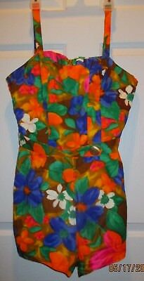 Vintage Ceeb of Miami Colorful 1 Piece Belted Swimsuit/Sunsuit; Colorful Floral