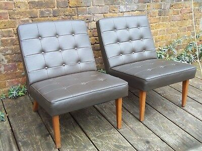 Vintage Mid Century a Pair of 1960's  Leather  Cocktail Lounge Chairs