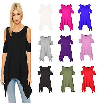 WOMENS COLD SHOULDER CUT HANKY TOP LADIES PLUS SIZE OVERSIZED SWING HEM FLARED