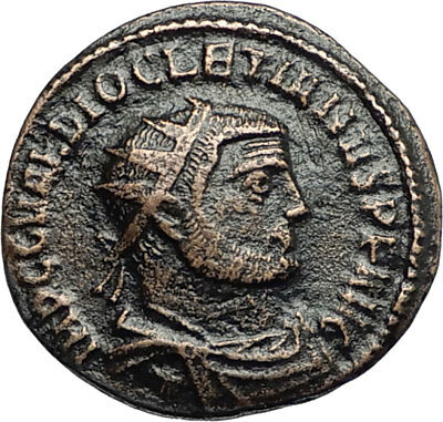 DIOCLETIAN Authentic Ancient 296AD Antioch Roman Coin w JUPITER & VICTORY i67402
