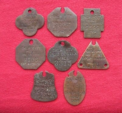 Lot of 8 Vintage Oklahoma City Dog Tax License Brass Tags
