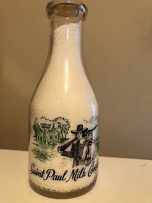 TRPQ 1942 Saint Paul Milk black & green painted milk bottle from St. Paul, Minn.
