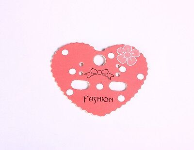 Earring display cards - pink and white heart display cards - 10 pieces (1568)