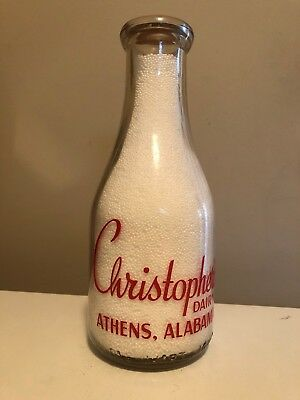 TRPQ 1945 Christopher's Dairy red painted milk bottle from Athens, Alabama .