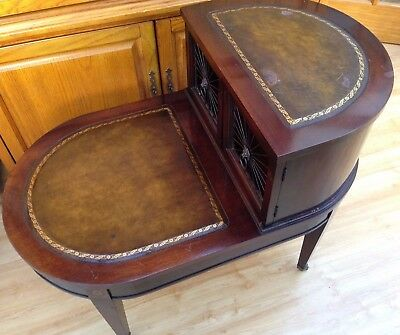 Vintage Mahogany Step End Table With Leather Top & Brass Insert Doors Lion Heads