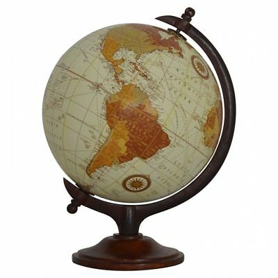 Small Vintage Globe Solid Wood Chestnut Finish Crafted By Hand Antique Effect