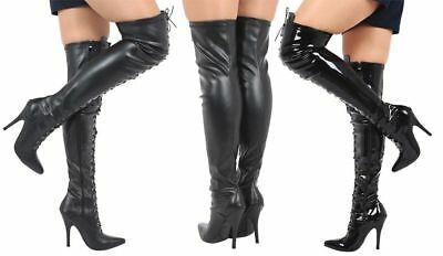 New Womens Ladies Destiny Thigh High Stiletto Heels Lace Up Pointed Toe Boots