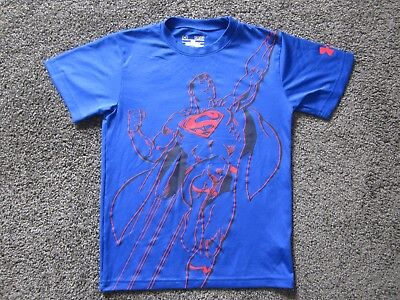 Under Armour Boy's Superman, Loose Fit, heatgear Short Sleeve Top Blue Size S