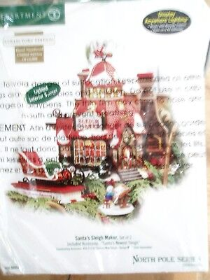 DEPT 56 NORTH POLE Village SANTA'S SLEIGH MAKER NIB Set of 2  *Read*