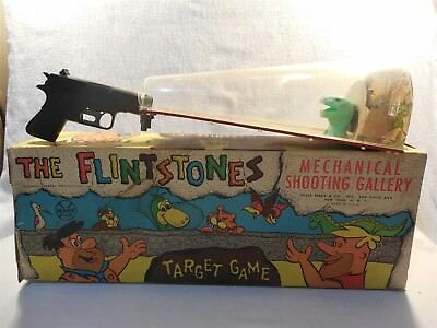 Flintstones 1962 Marx Fred Flintstone's Arcade Mechanical Shooting Gallery w/Box