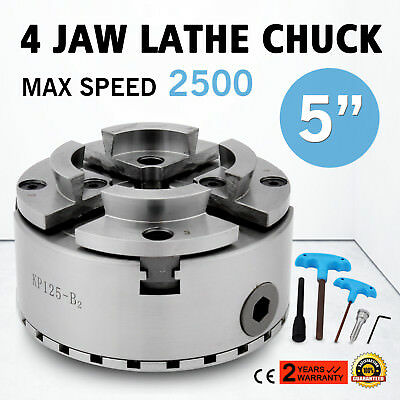 4 Four Jaw 125mm Self Centering Lathe Chuck M33 Scroll Mount RPM 2500 Adjustable