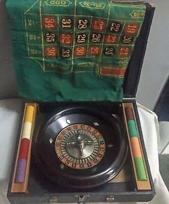 Vintage travel game ROULETTE wheel set Pattberg Novelty in box with instructions