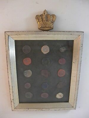 Wax Intaglio Seal Stamps Crown Plaster Gilt Wood Frame French Grand Tour Style