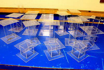 25 Lot Clear Acrylic Pedestal Display Risers Mixed Sizes 4x4x3 to 4x4x9 High