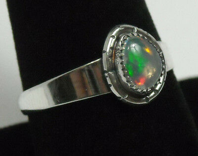 925 Sterling Silver Ring Size 9 Flashy Natural Ethiopian Fire Opal Handmade NEW