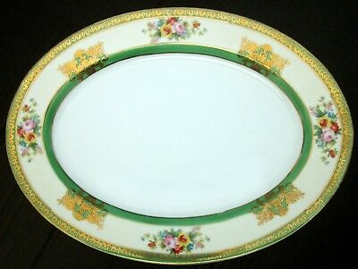 "Japan ca.1921~14"" PLATTER~NORITAKE ""M"" HANDPAINTED~Green/Gold Gilt/Floral~N1208"