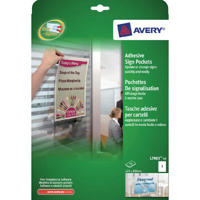 Avery Transparent Adhesive Sign Pockets (Pack of 10) L7083-10