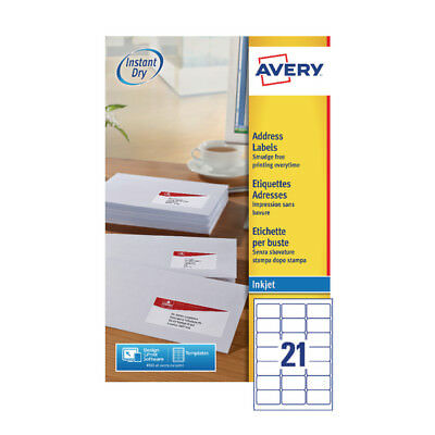 Avery Inkjet Labels 21/Sheet 63.5x38.1 25Sheet (Pack of 525)
