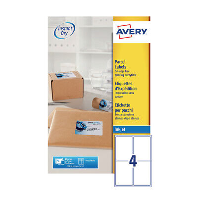 Avery Quickdry 139x99.1mm Inkjet Label 4 per Sheet (Pack of 25) J8169-25