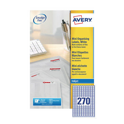 Avery Mini Inkjet Label 17.8x10mm 270 per Sheet (Pack of 25) J8659-25