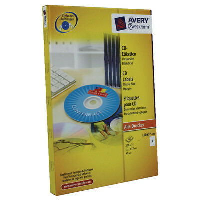 Avery CD/DVD Laser Labels 2 Labels per Sheet Classic Size (Pack of 100) L6043-10