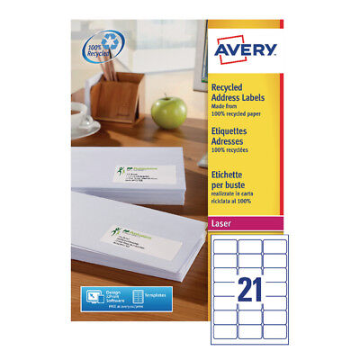 Avery Recycled Laser Label White Address 63.5x38.1mm 21 per Sheet (Pack of 100)