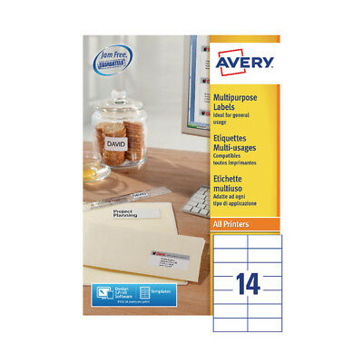 Avery Multi-Purpose Label 105x42.3mm 14TV per Sheet White (Pack of 100) Sheets 3
