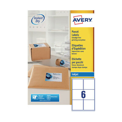 Avery Quickdry 99.1x93.1mm Inkjet Label 6 per Sheet 6TV (Pack of 100) White J816