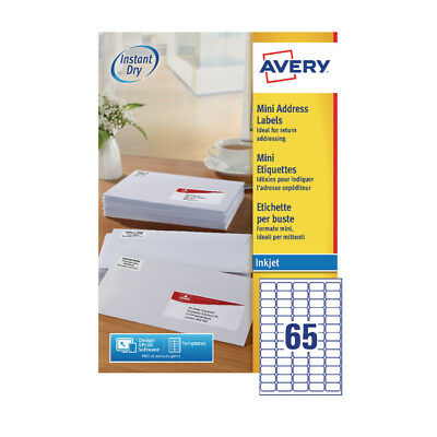 Avery Mini Inkjet Address Label 65TV per Sheet (Pack of 100) White J8651-100